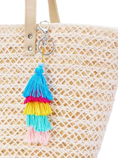 Color Block Tiered Tassel Keychain