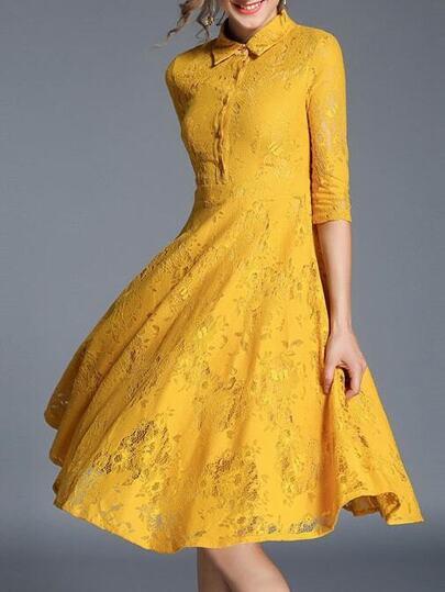 Lapel Sleeve Lace A-Line Dress