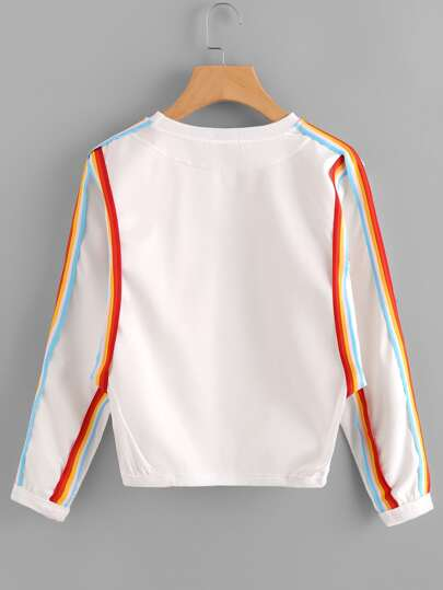 Rainbow Tape Detail Sweatshirt