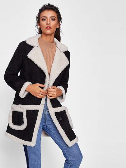 Pocket Front Two Tone Faux Shearling Coat