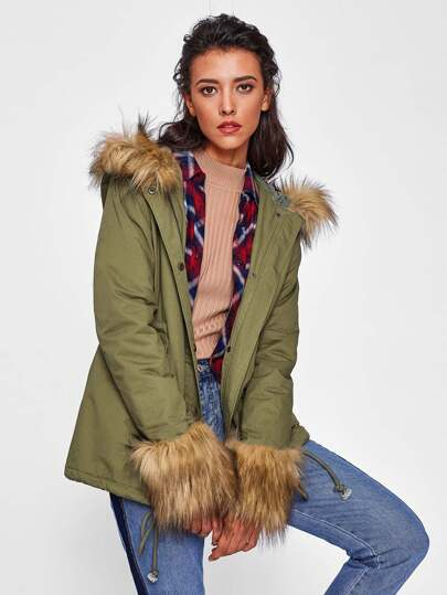 Contrast Faux Fur Trim Hoodie And Cuff Parka Coat