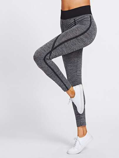 Kontrast Naht Strick Leggings
