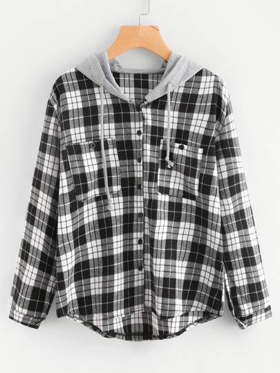 Hooded Tartan Blouse With Chest Pockets