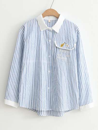 Vertical Striped Embroidery Detail Contrast Collar Blouse
