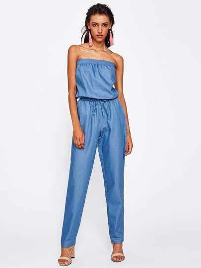 Shirred Bandeau Drawstring Chambray Jumpsuit