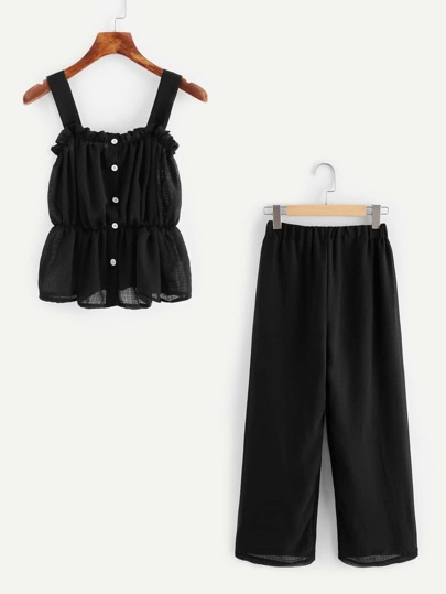 Button Front Elastic Top With Pants