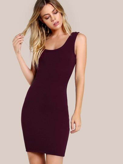 Sleeveless Bodycon Dress BURGUNDY