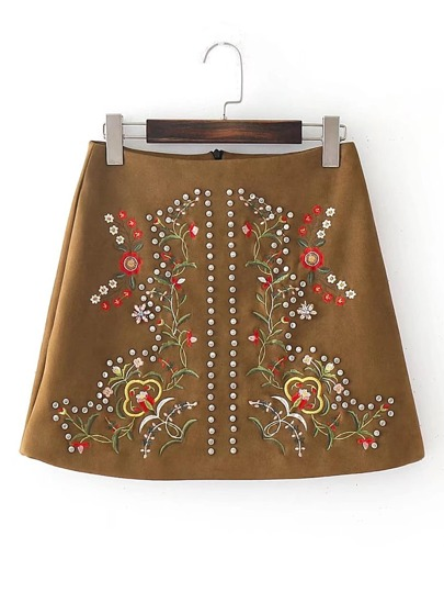 Flower Embroidery Studded Trim Suede Skirt