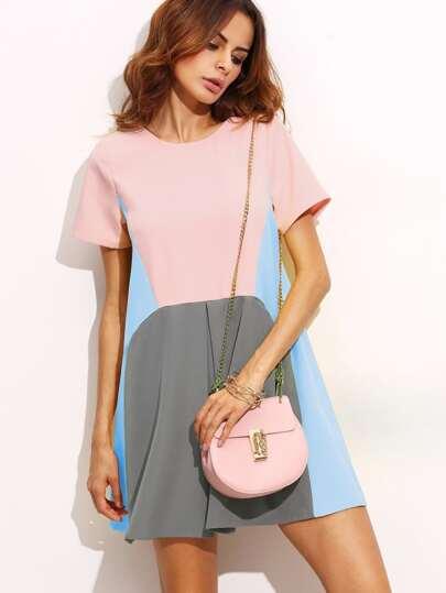 Cut And Sew Fold Pleat Front Dress