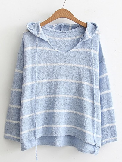 High Low Drawstring Hooded Knitwear