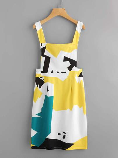 Abstract Geo Print Overall Dress