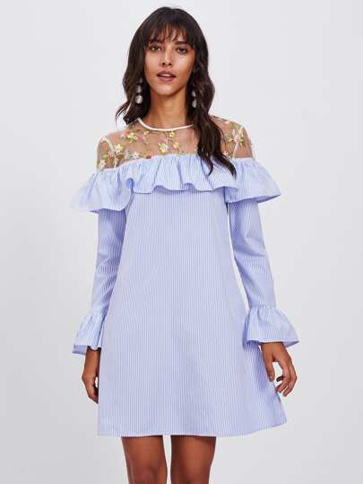 Embroidered Mesh Yoke Flounce Trim Bell Cuff Dress