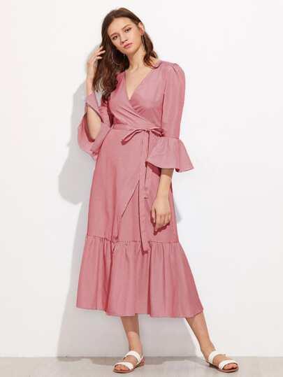 Vertical Striped Puff Sleeve Frill Dress