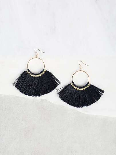 O Ring Tassel Earrings BLUE