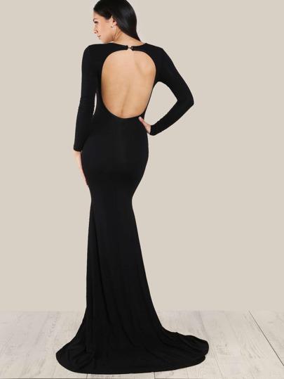 Rückenfreies Kleid mit Fischschwanz Saum