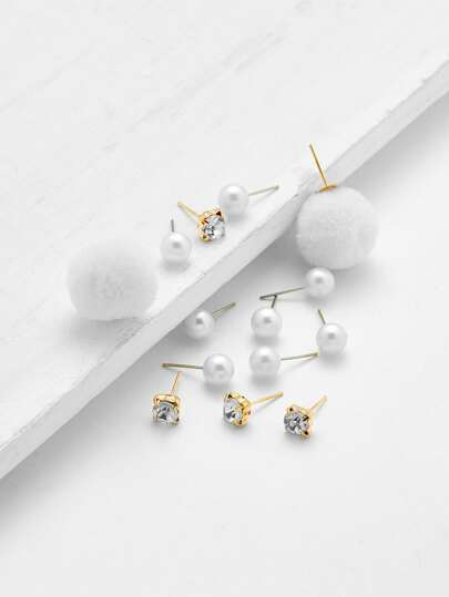 Pom Pom & Faux Pearl Decorated Stud Earring Set