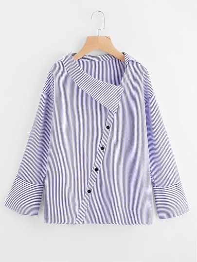 Asymmetric Collar Drop Shoulder Striped Blouse
