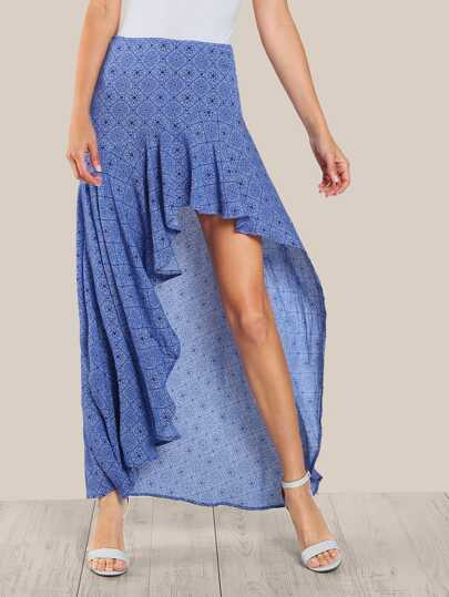 Frill Trim High Low Skirt
