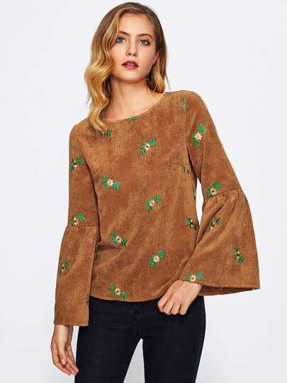 Botanical Embroidered Trumpet Sleeve Cord Top