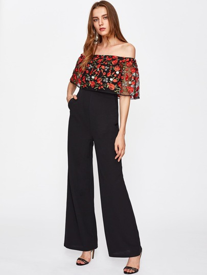 Embroidered Mesh Flounce Trim Off Shoulder Palazzo Jumpsuit
