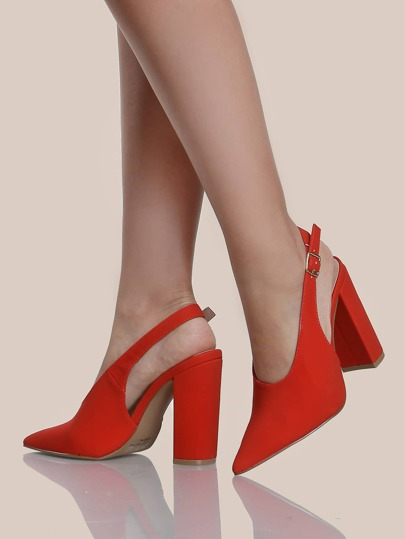 Slingback Block Heel Pumps RED