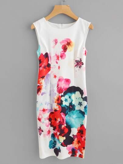 Slit Back Florals Sheath Dress