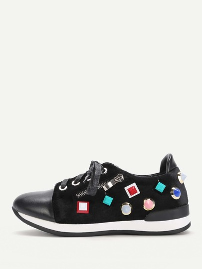 Studded Decorated Lace Up Trainers