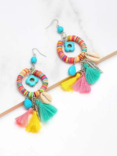 Tassel & Turquoise Decorated Charm Drop Earrings