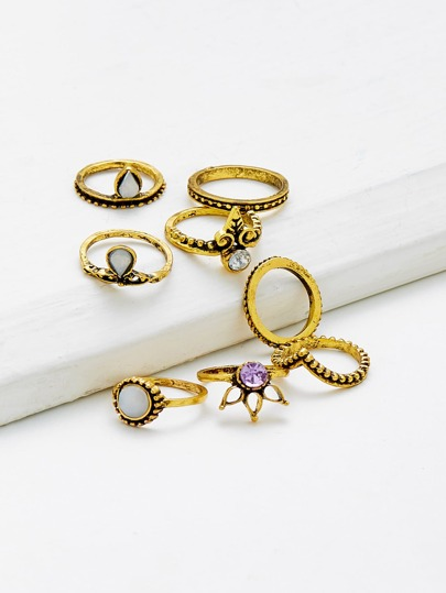 Gemstone Decorated Geometric Ring Set 8pcs