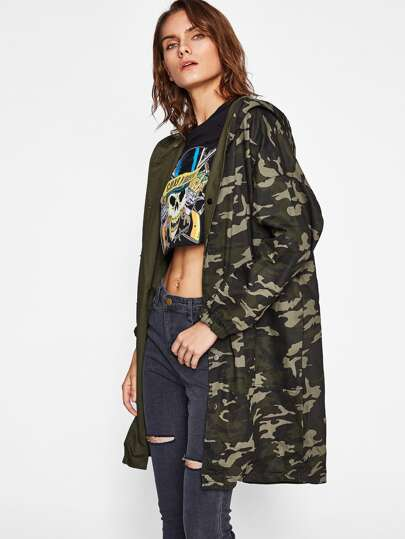 Camo Drop Shoulder Hooded Multiway Coat