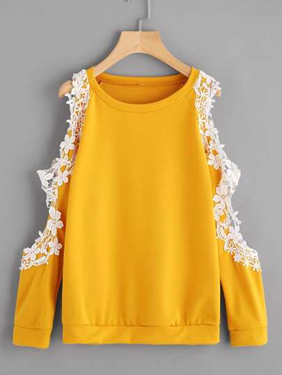 Open Shoulder Lace Trim Sweatshirt
