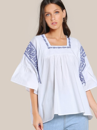 Stitched Ruffle Sleeve Top WHITE