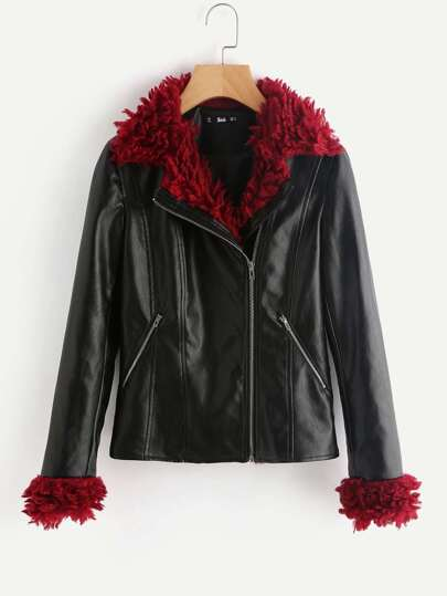 Contrast Faux Fur Trim Moto Jacket