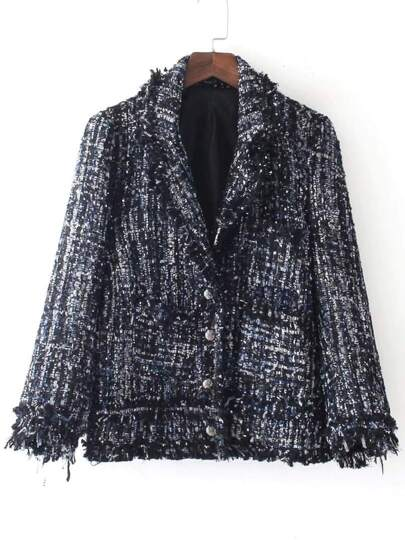 Marled Knit Frayed Edge Coat