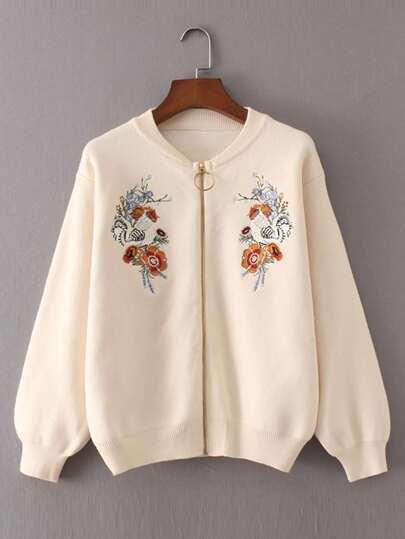 Sweater manteau brodé des fleurs avec le zip