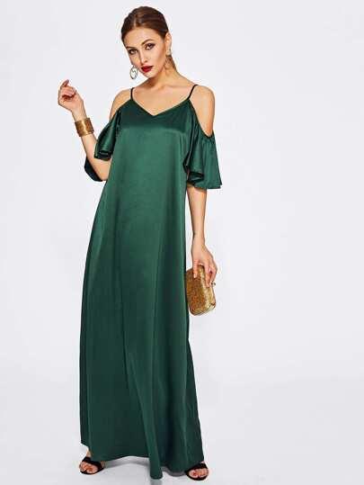 Open Shoulder Flutter Sleeve Satin Dress