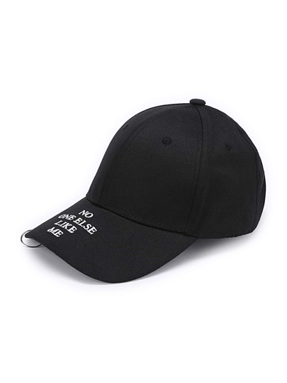 Slogan Embroidery Ring Detail Baseball Cap