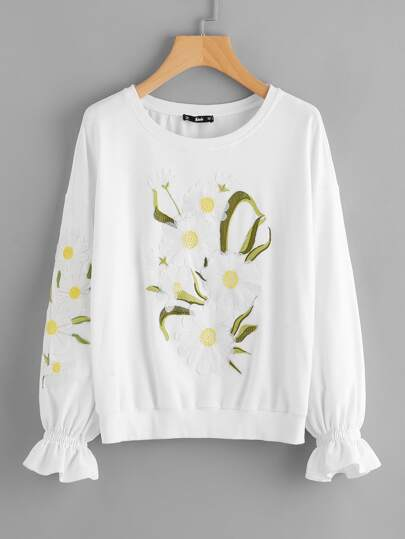 Flower Embroidered Drop Shoulder Ruffle Cuff Sweatshirt
