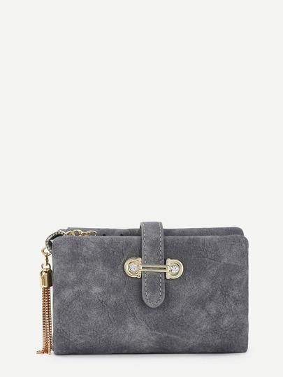 Chain Tassel Detail Foldover PU Wallet