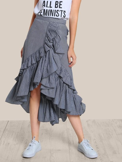 Pleated Asymmetric Stripe Skirt DARK NAVY