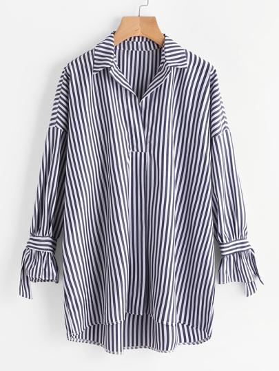 Contrast Stripe Drop Shoulder Tie Detail Longline Blouse