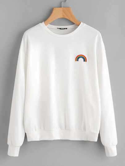 Rainbow Embroidery Patch Drop Shoulder Sweatshirt