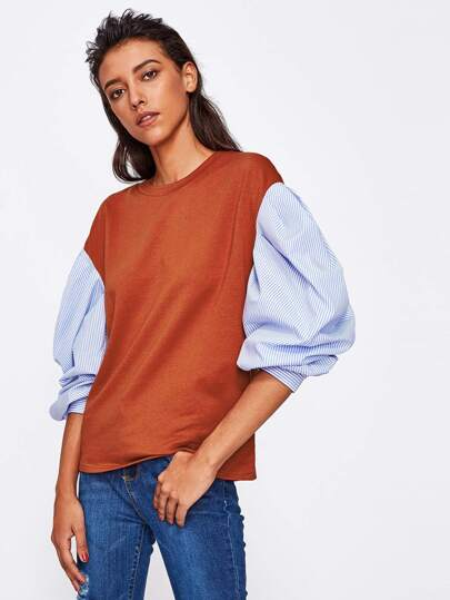 Contrast Striped Gigot Sleeve Tee