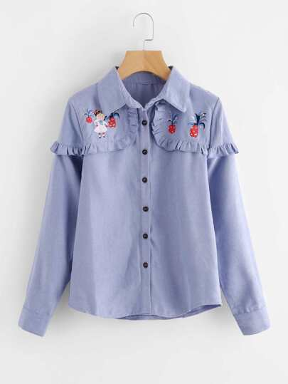 Cartoon Print Frill Trim Corduroy Shirt