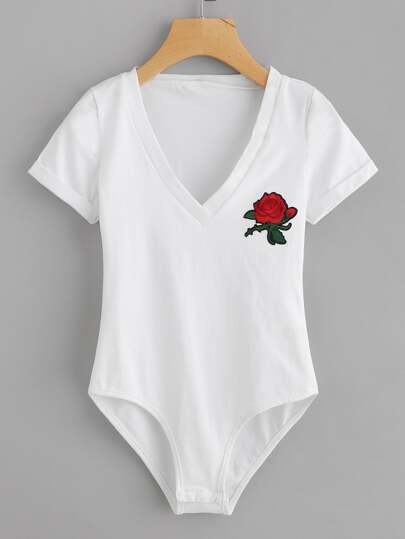 V Neckline Rose Embroidered Patch Bodysuit