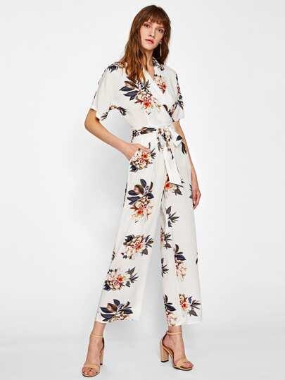 Flower Print Self Belted Shirt Jumpsuit