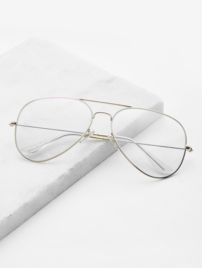 Skinny Frame Double Bridge Aviator Glasses