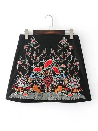 Flower Embroidery Mini Skirt