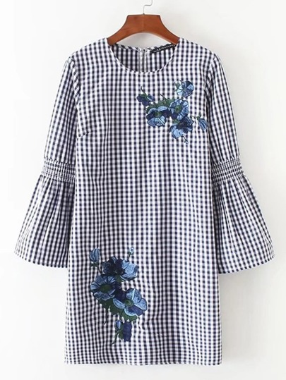 Bell Sleeve Flower Embroidery Gingham Dress
