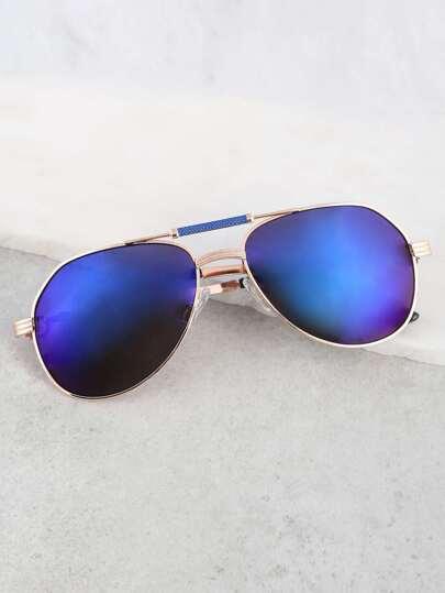 Mirrored Aviator Sunglasses BLUE